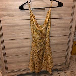 SHEIN YELLOW PAISLEY COWL DRESS $9